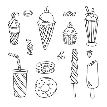 Set of sweets. Outlines, drawings by hand. Set for your design, isolated on white. Vector.
