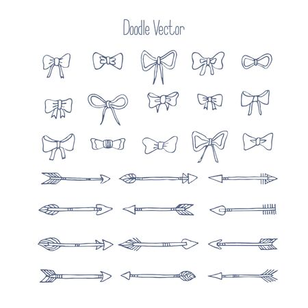 Hand draw set of isolated Bows. Doodles, sketch. Vector.