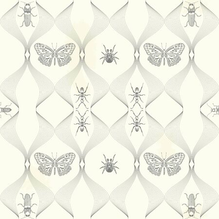 Exotic black and white seamless pattern with insects. Butterflies, moths, beetles. Illustration.