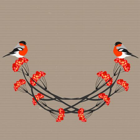 Vintage Card with bullfinches. Vector illustration.
