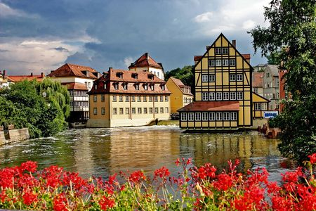 Urban landscape -  the river and the old town Stock Photo
