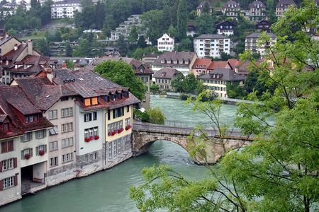 The river in the centre of city Berne Stock Photo