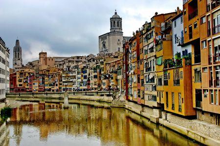 Girona. Riverside Onyar. Stock Photo