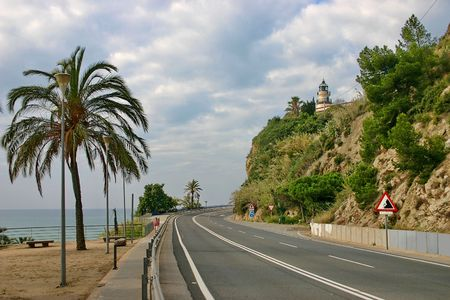 Highway close to Mediterranean seashore