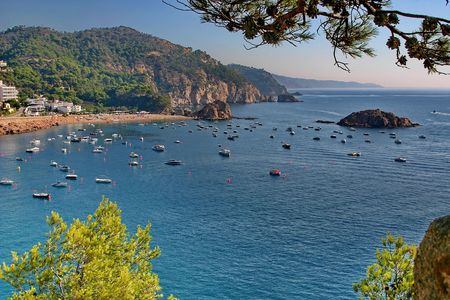 View the beach of Mediterranean Sea in  Catalonia