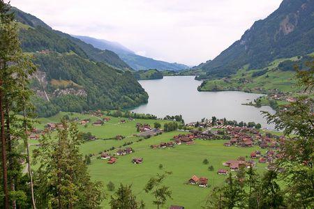 Switzerland. Mountain village and the lake
