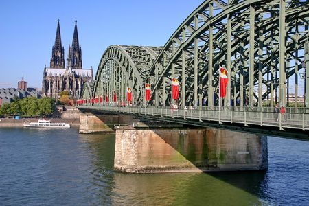 bridge footing: The old  steel bridge in Cologne