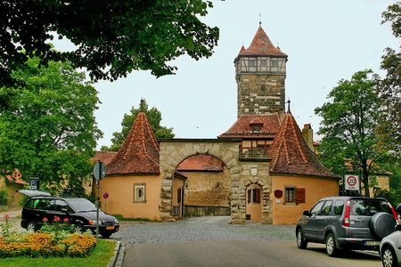 The stronghold gate in the medieval town Stock Photo