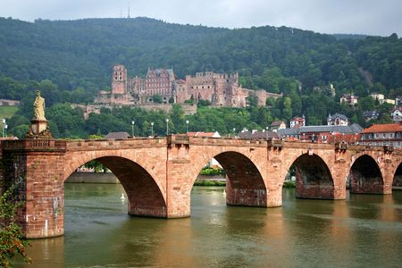 Germany. The old bridge on the river Neckar