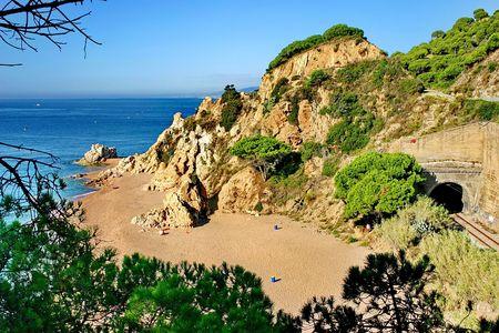 Solitary beach in Catalonia, near Barcelona  Stock Photo