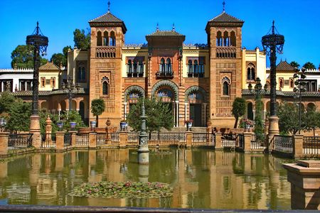 Seville. The building in stale of Moresque on the plaza of America Foto de archivo