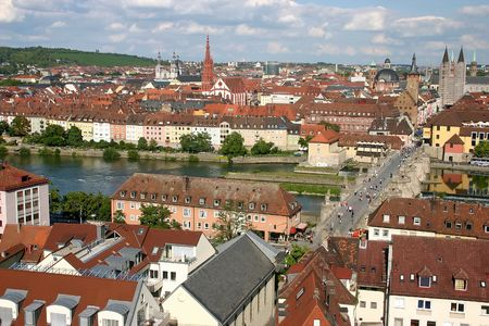View of city  Würzburg on the river  Main.