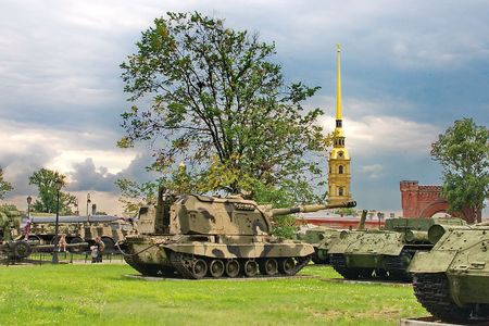 Armoured units in a park of city Stock Photo