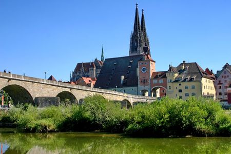Regensburg. Old stone bridge across Danube.