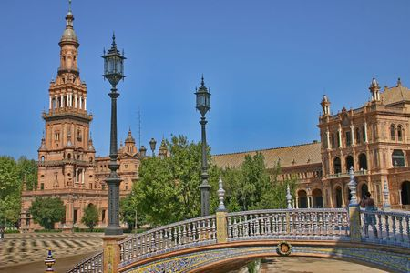 The building realize in traditional style of spanish on plaza of Spain  in Seville.