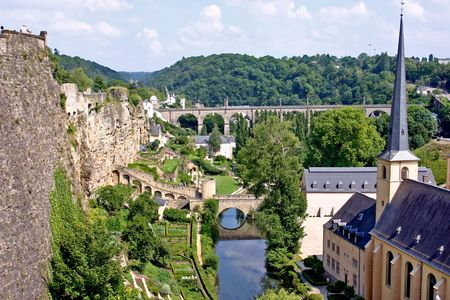 Old town of Luxembourg and church St. John and St. Baptist Stock Photo