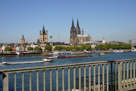 The wharf  in city Cologne.
