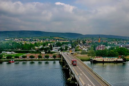 mosel: Luxembourg. The bridge across river Mosel.
