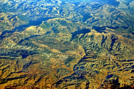 Andalusia. The view through the window of a airplane. Stock Photo