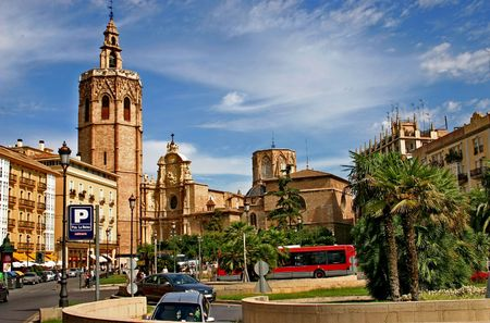 Spain.The area of Saragossa in Valencia and the  tower of Miguelete. Stock Photo