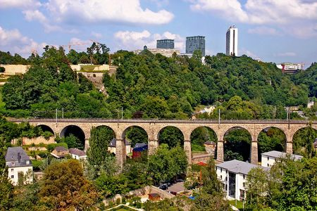 Luxembourg. Clausen Viaduct and the green hill