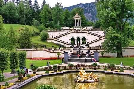 Schloss Linderhof Palace in Bavaria, Park, Germany. Stock Photo