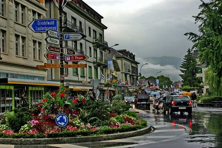 Switzerland. View of street  Interlaken in rainy weather