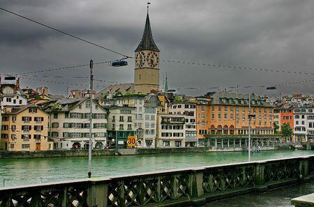 Zurich. The bund of river Limmat in rainy weather