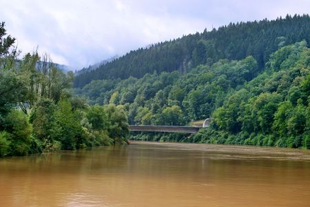 The river Neckar in Bavaria, Germany Stock Photo
