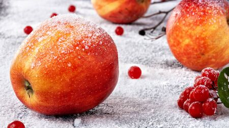 Striped apples sprinkled with powdered sugar. The dish simulates apples in the snow Banco de Imagens