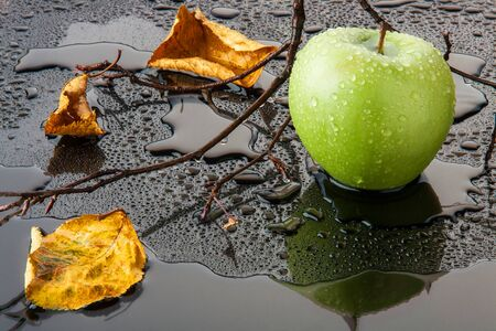 green Apple with yellow autumn leaves and branch in water on black glass Stock Photo