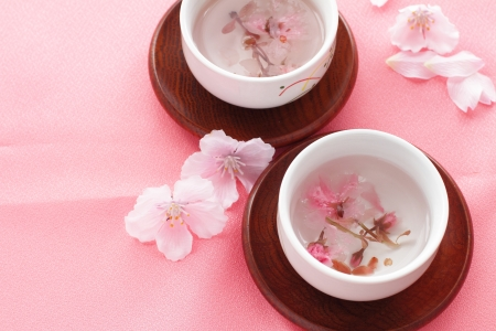 dried cherry blossom hot tea for japanese spring food image photo