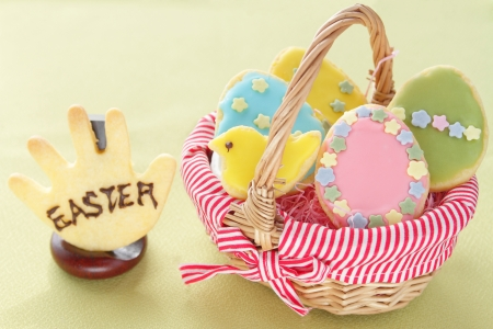Easter cookies in basket photo
