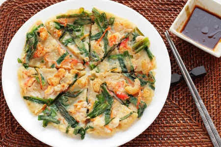 Korean cuisine, jijim leek and shrimp pan cake photo