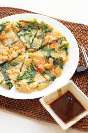 Korean cuisine, jijim leek and shrimp pan cake Stock Photo - 18172830