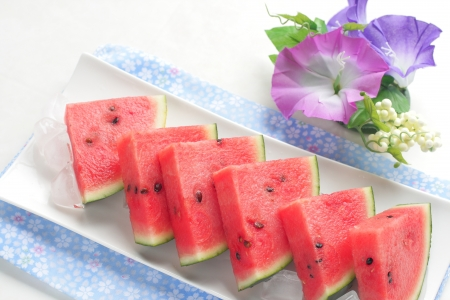 fresh watermelon of Japanese  summer image photo