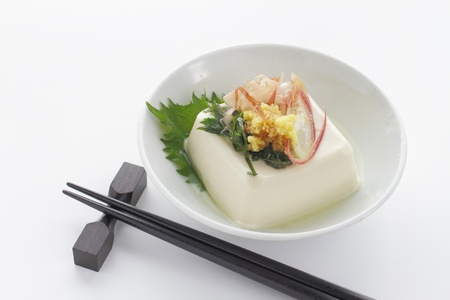Japanese food cold Tofu called Hiyayakko photo