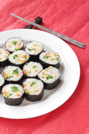 A healthy serving of Korean style sushi called kimbap photo