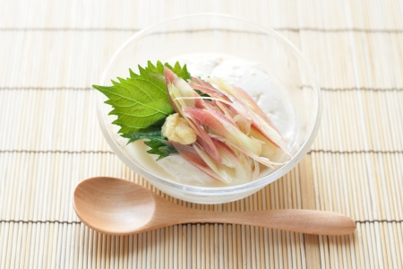 Japanese cuisine, Shiso and Myoga ginger on Tofu photo