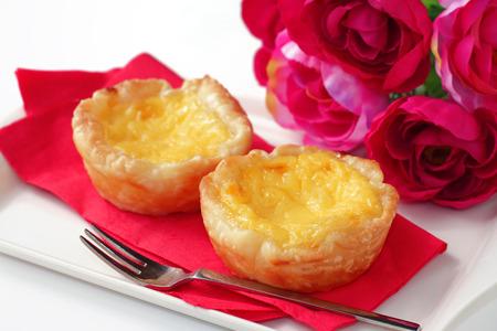 Traditional asian dessert egg tarts photo