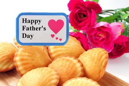 madeleine: Madeleine cake with elegant flower for fathers day Stock Photo