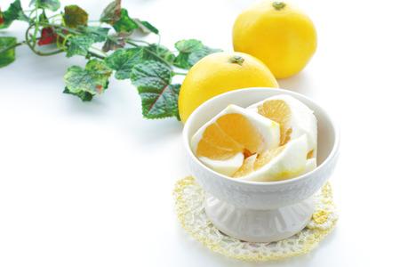 plural number: Ripe fruits of hyuganatsu (Citrus tamurana) Stock Photo