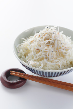 tiddler: Japanese cuisine, rice with boiled small Whitebait Stock Photo