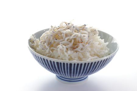 whitebait: Japanese cuisine, rice with boiled small Whitebait Stock Photo