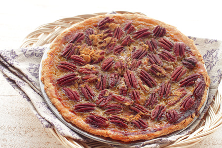 Homemade Maple Pecan Pie for the Holidays Stock Photo