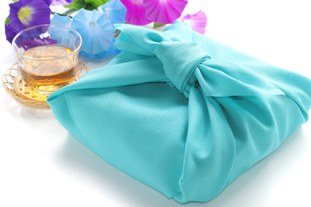 japanese culture: Japanese culture item, Furoshiki for wrapping gift Stock Photo