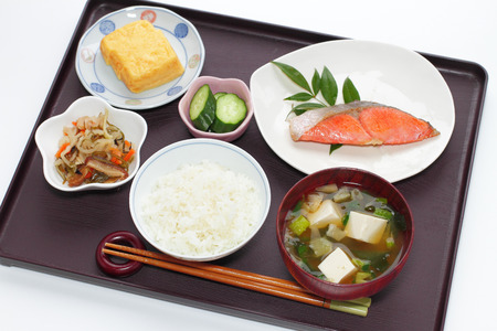 breakfast eggs: typical japanese breakfast image