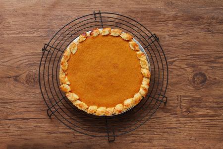 Fresh Homemade Pumpkin Pie made for Thanksgiving photo