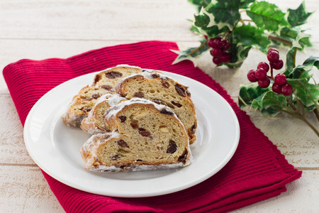 stollen: Cranberry almond stollen, a traditional German Christmas fruit cake Stock Photo