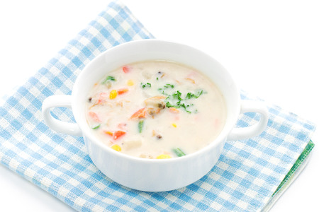 clam: Gourmet soup, Clam chowder Stock Photo